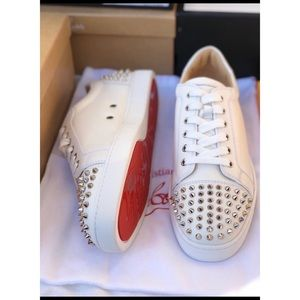 Christian Louboutin white spiked leather sneakers